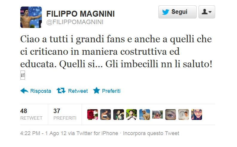 Filippo Magnini dice addio ai fan su Twitter