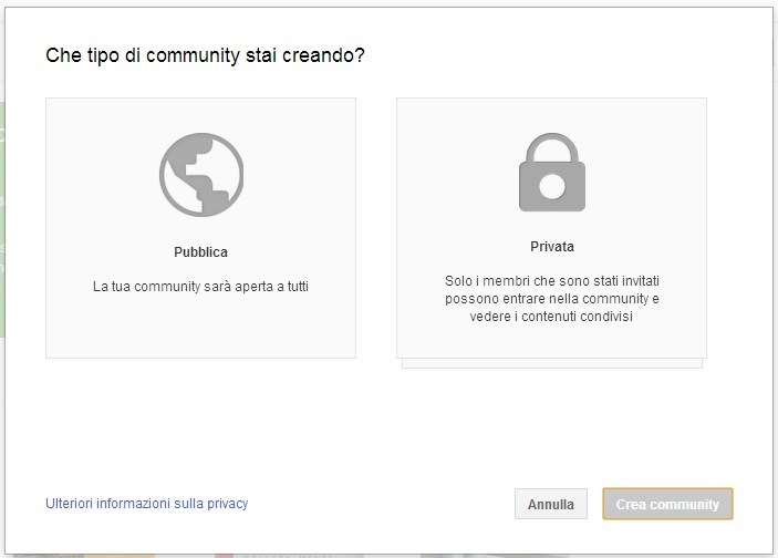 Community Pubblica e Community Privata - Google Plus
