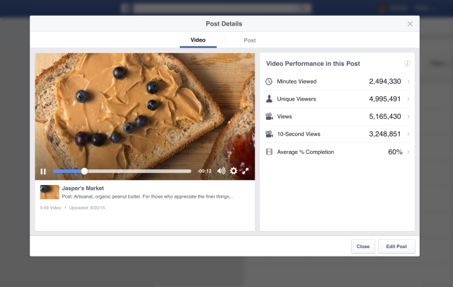Nuove metriche Insights Video Facebook