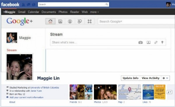 Facebook Timeline creativa menu Google Plus