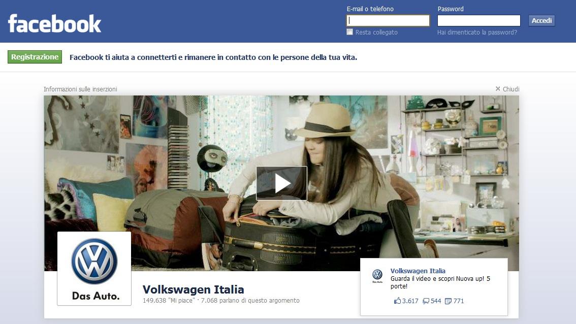 Facebook pubblicità Volkswagen Nuova Up 5 porte pagina Logout