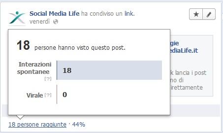 Facebook - Strumento Persone Raggiunte per singolo post