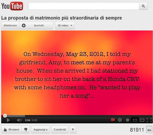 La proposta di matrimonio più straordinaria di sempre su YouTube