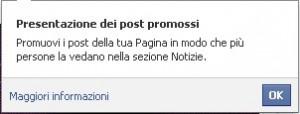 Presentazione dei post promossi su Facebook