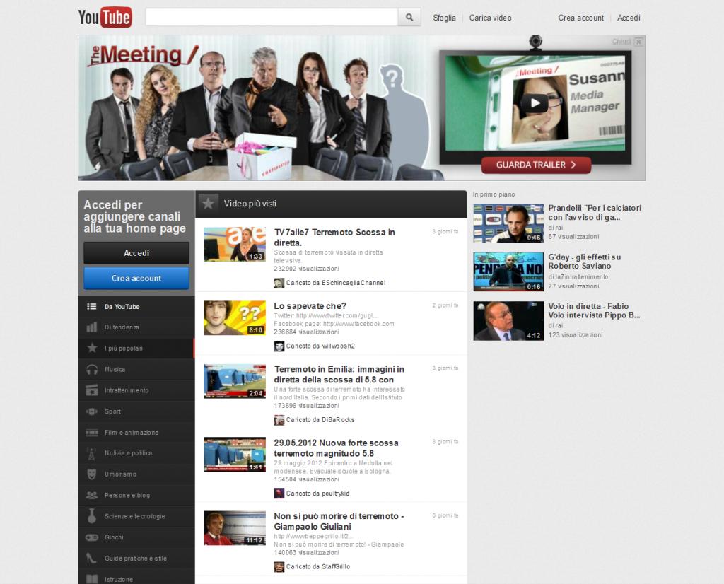 Video più popolari su YouTube - 1 giugno 2012