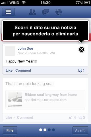 Elimina - nascondi notizia - Facebook App