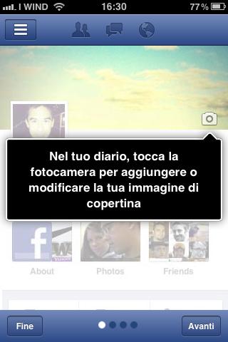 Aggiungere - modificare Immagine di copertina - Facebook App