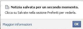 Notizia salvata per un secondo momento - Preferiti Facebook