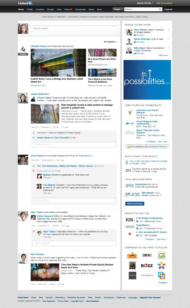 Nuovo layout di LinkedIn