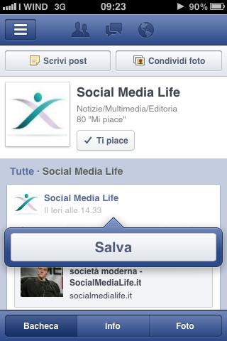 Salva Notizia - Facebook Mobile
