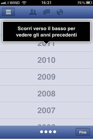 Visualizza cronologia - Facebook App