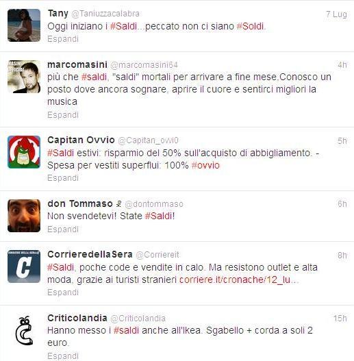#saldi - Hashtag trend su Twitter