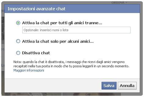 Attiva la chat per tutti gli amici tranne - Facebook