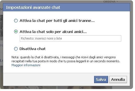 Attiva la chat solo per alcuni amici - Facebook