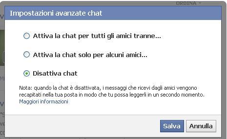 Disattiva chat - Facebook