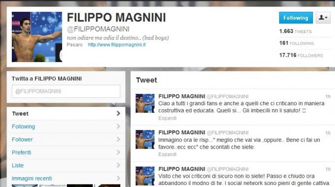 Filippo Magnini su Twitter