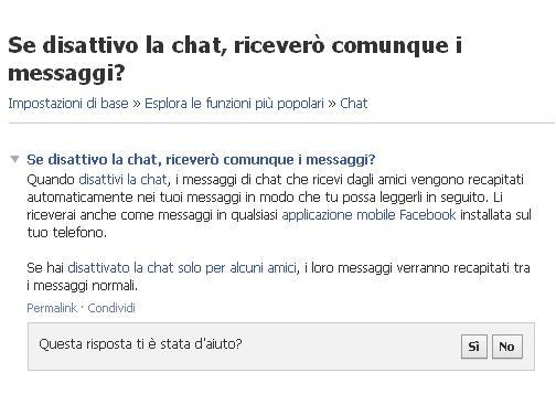 Maggiori Informazioni - Disattiva Chat Facebook