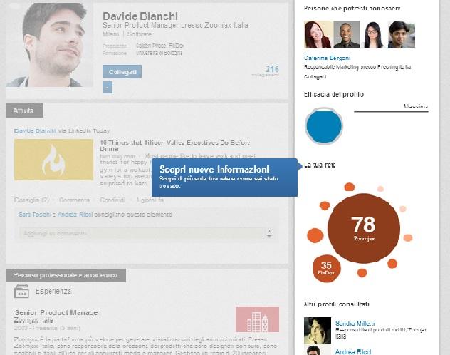 Nuovo Profilo LinkedIn - Scheda Informazioni utente