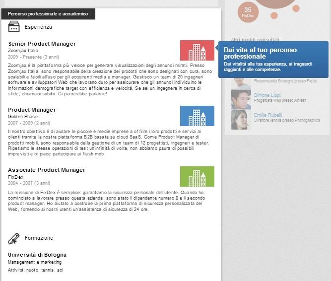 Nuovo Profilo LinkedIn - Scheda Percorso Professionale e accademico