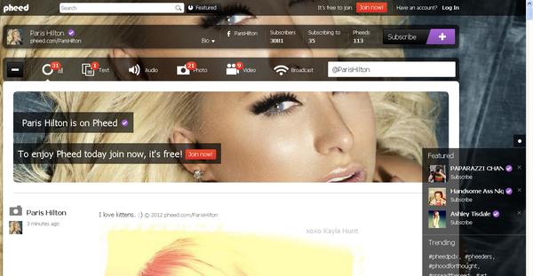 Paris Hilton - Profilo su Pheed