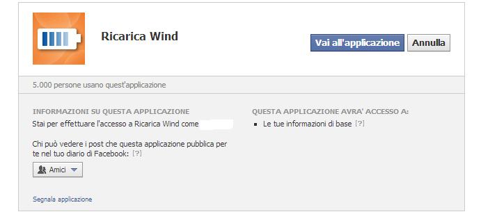 Ricarica Wind Applicazione Facebook