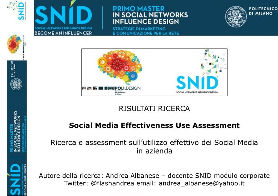 SNID - Risultati ricerca utilizzo dei Social Media in azienda