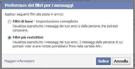 Filtri base e Filtri restrittivi Messaggi Facebook
