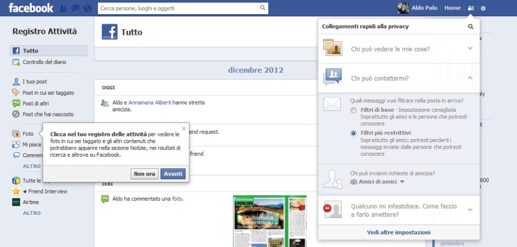 Registro delle Attività di Facebook