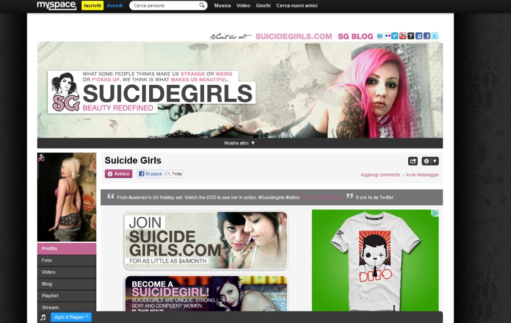 MySpace Pagina Suicide Girls