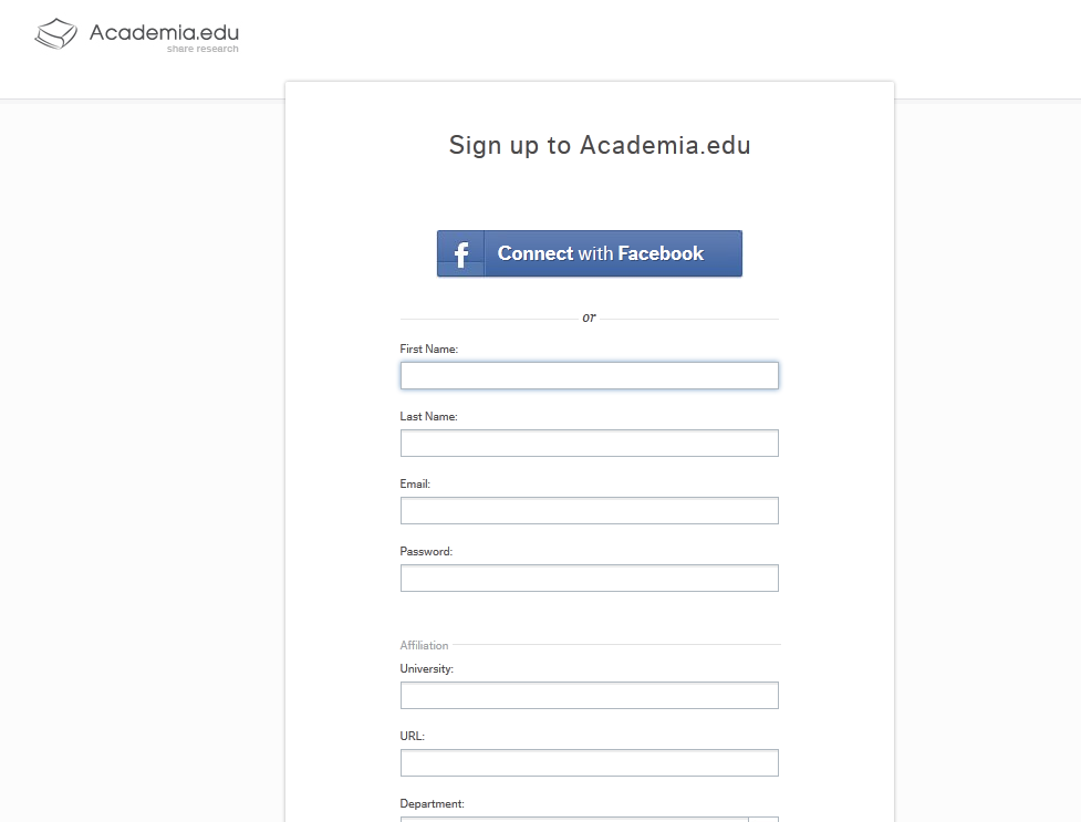 Login via Facebook Academia.edu