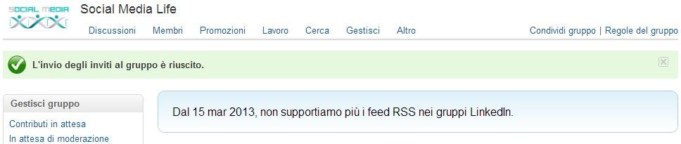 LinkedIn disattiva Feed RSS
