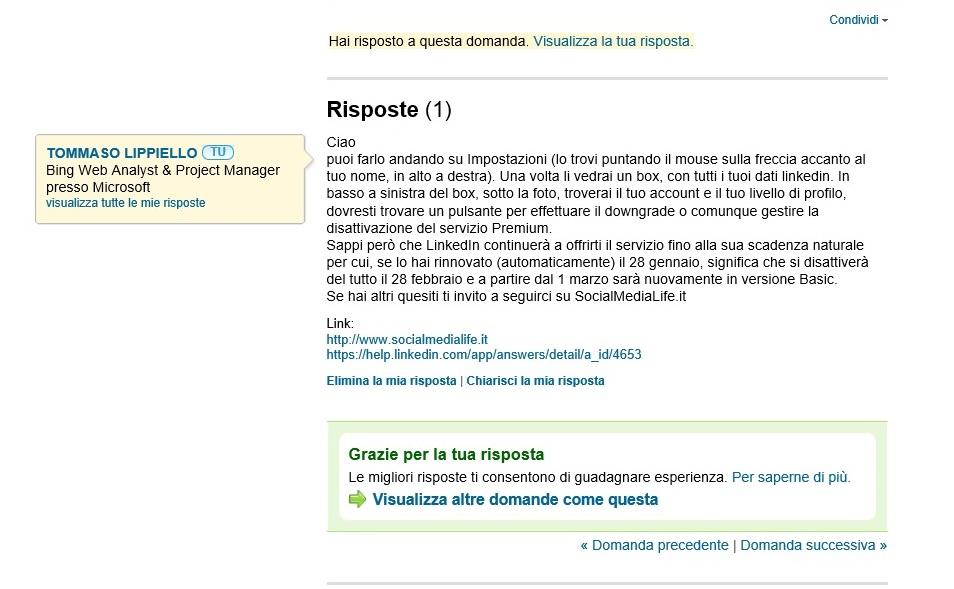Risposte LinkedIN - Strumento Self Marketing