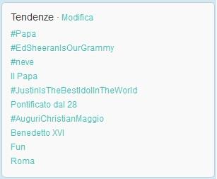 Papa tra i Topic Trend su Twitter 11 febbraio 2013