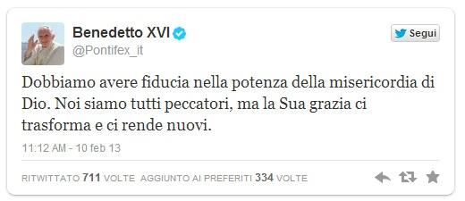 Ultimo tweet di Papa Benedetto XVI