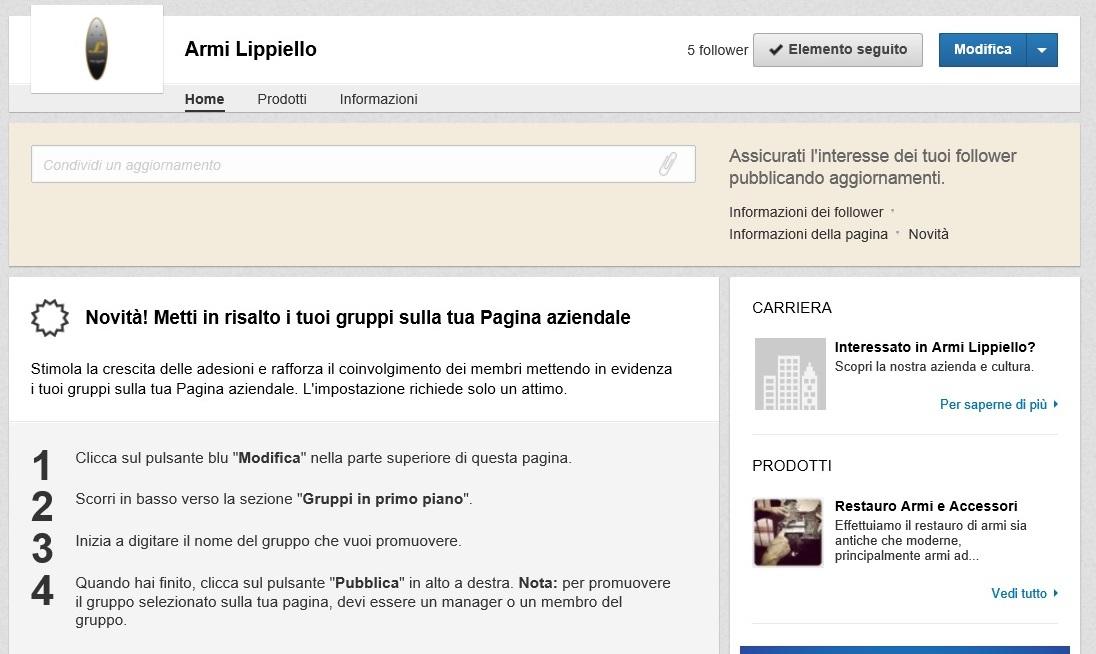 Gruppi in risalto su Pagina Azienda LinkedIn