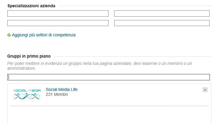 Gruppo Social Media Life in evidenza sulla pagina LinkedIn