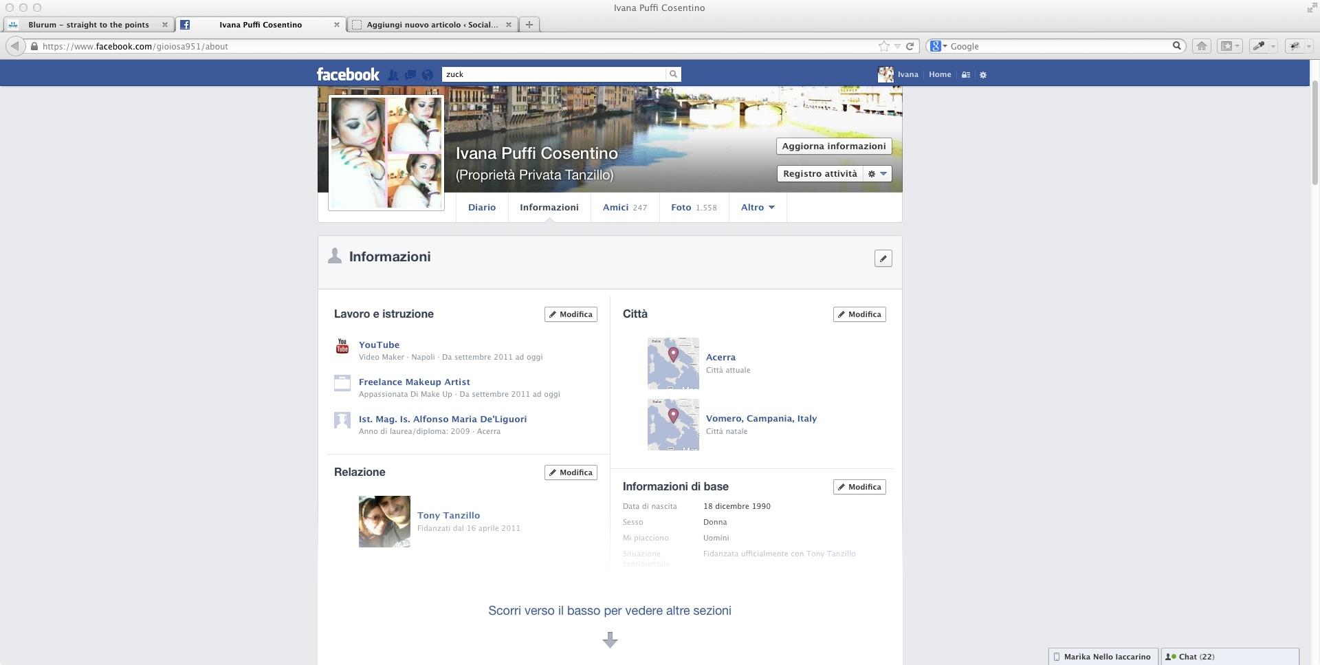 Profilo e interessi su Facebook