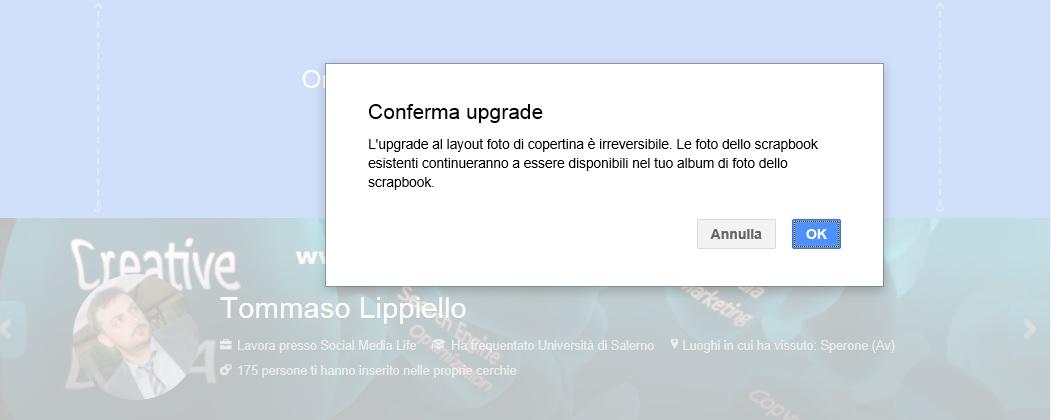 Upgrade Copertina Google Plus irreversibile