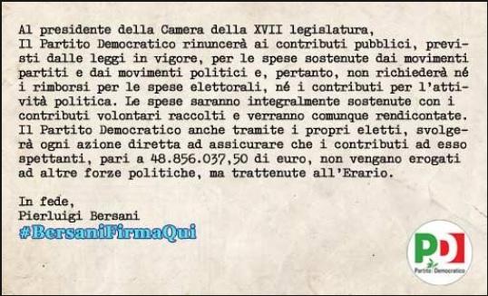 Photo of #BersaniFirmaQui! Politica, Rimborsi e Twitter