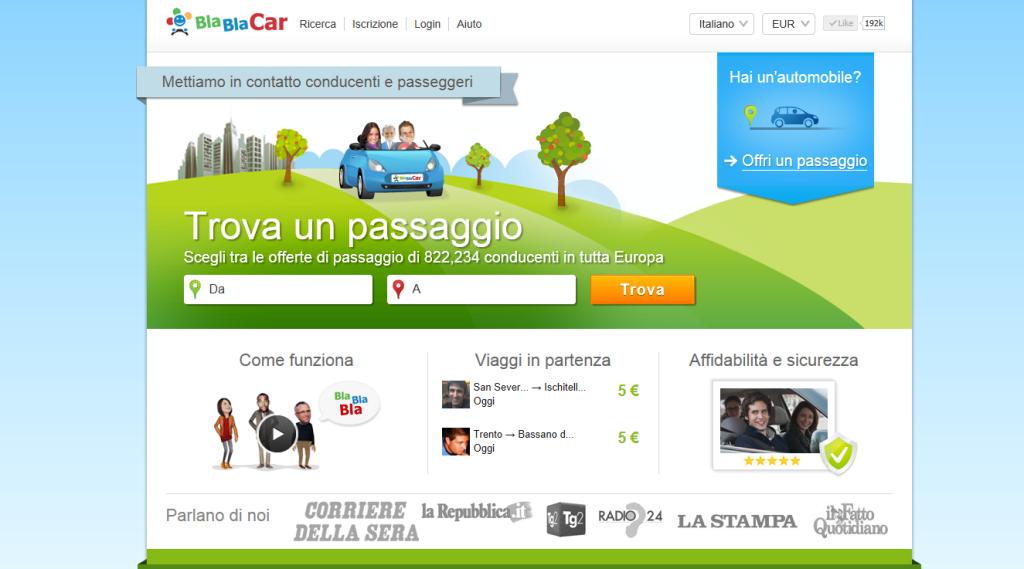 Blablacar Home Page