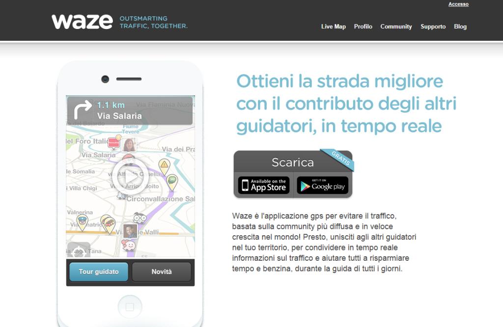 Homepage di Waze