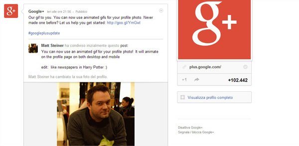 Photo of G+ introduce le Gif animate: addio staticità