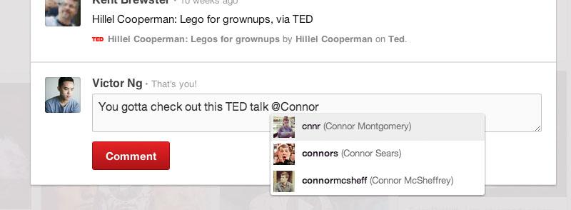 Come taggare i contatti su Pinterest