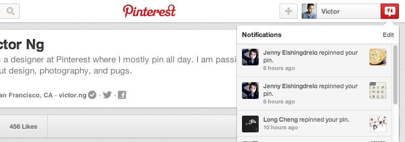 Notifiche di Pinterest