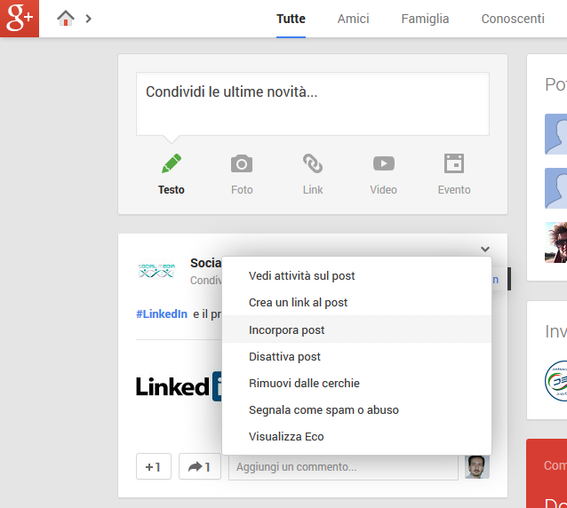 Photo of Anche Google+ aggiunge l'embed dei post