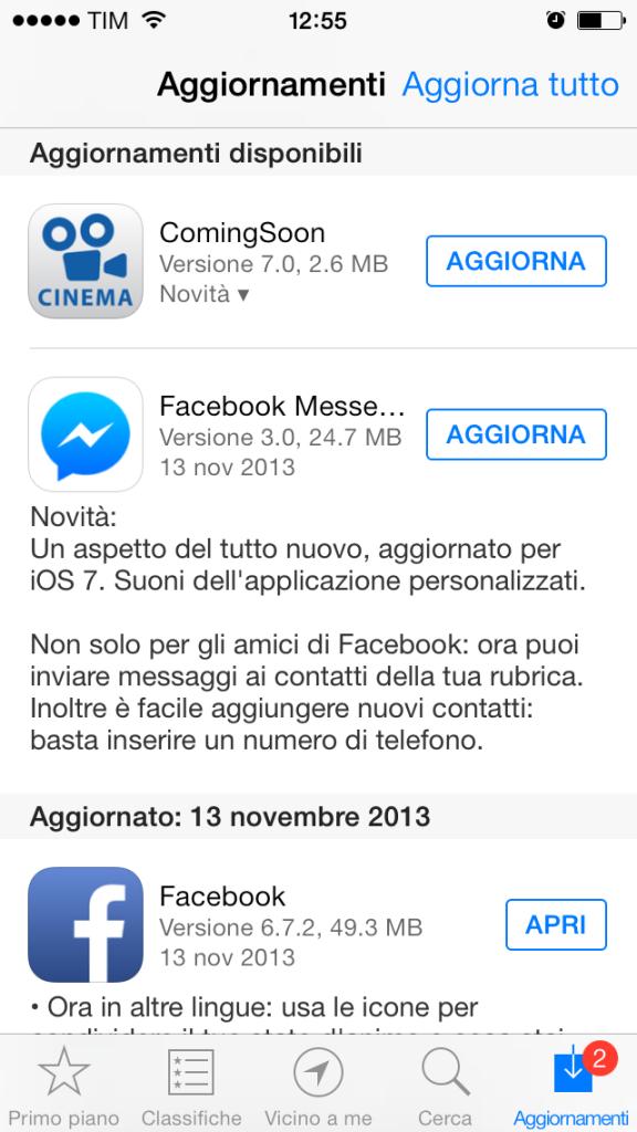 Aggiornamento Facebook Messenger App
