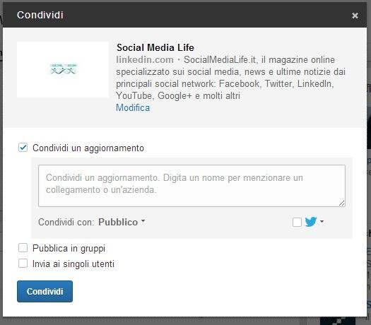 LinkedIn nuovo pulsante Condividi