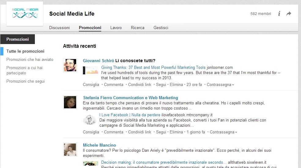 Restyling sezione Promozione LinkedIn