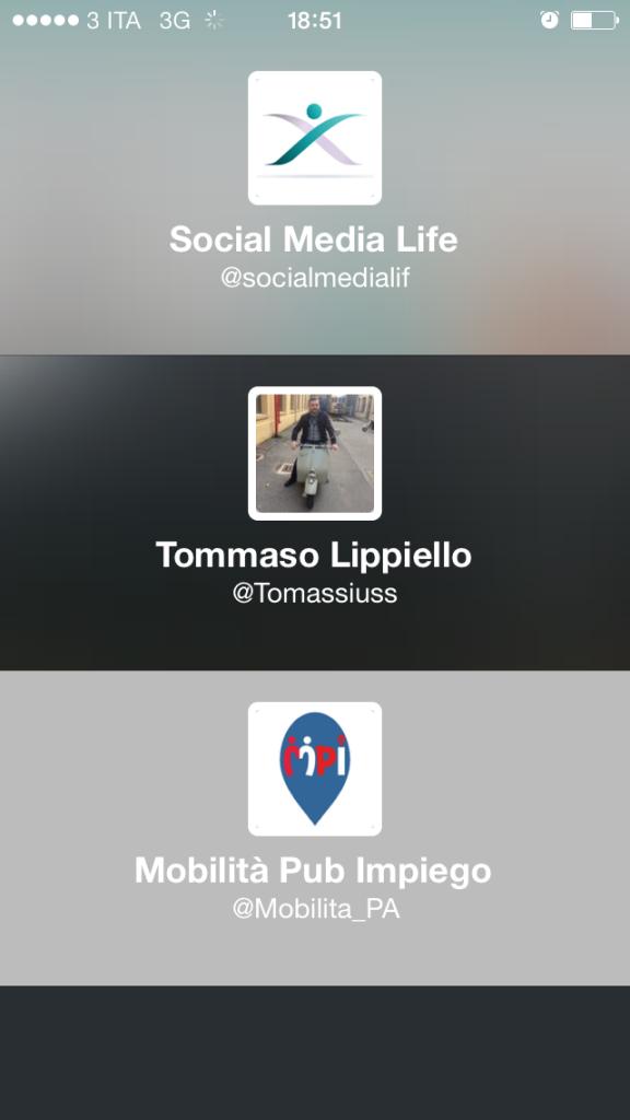 Anteprima gestione Account multipli Twitter App