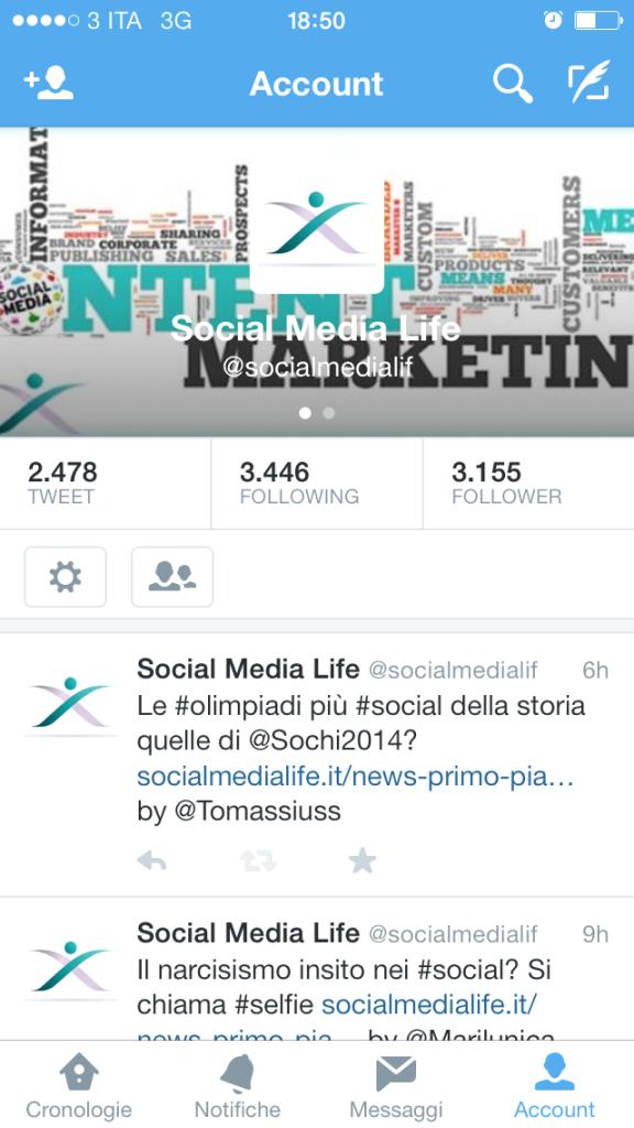 Nuova posizione pulsanti Navigazione - Account Twitter App